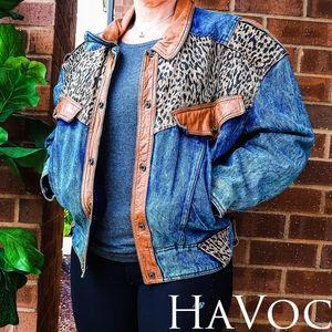 Havoc | Vintage Acid Wash Cheetah Jean Jacket
